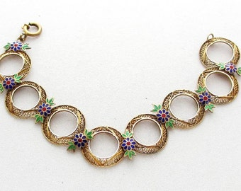 Vintage Filigree Jewelry: Gilt Silver Filigree Bracelet with Enameled Flowers