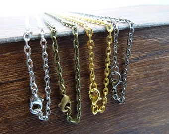 20pcs Antique Bronze Silver Gold White Gold 3x4mm Chain Necklaces with Lobster Clasps