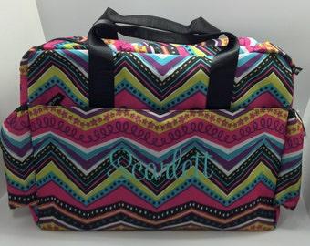 Monogrammed Baby Girl diaper bag, personalized gift, monogram diaper bag, modern multi chevron