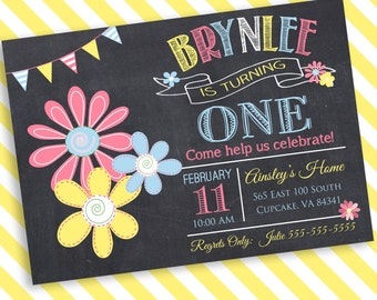 Daisy Birthday Party Invitation -5x7 or 4x6 - Birthday Invitation