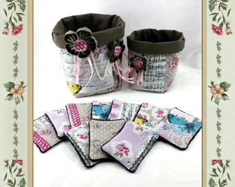 Lot of 2 tidies or flexible baskets for bathroom with 10 remove make-up, shabby chic