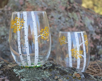 Colorado Aspen in the Fall Stemless Wine Glass with Free Shipping