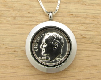 For 40th: 1977 US Dime Locket Necklace 40th Birthday or 40th Anniversary Coin Jewelry