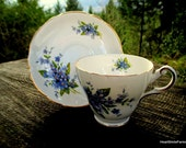 Regency English Fine Bone China Tea Cup and Saucer - Blue Forget Me Nots - English Tea Cup and Saucer
