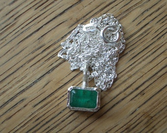 Emerald pendant with chain 935 silver