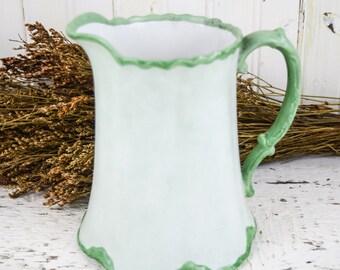 Vintage Porcelain Pitcher Vase England Mint Green Country Kitchen