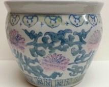 Hand Painted,  Ceramic Jardiniere, Asian Fish Bowl, Flower Planter, Decorative Oriental Pot