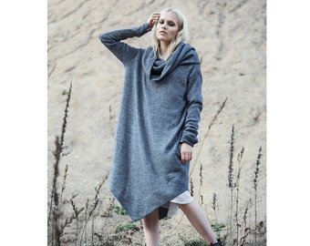 Dark blackish grey midi cowl neck sweater/dress with long sleeves and pockets, autumn winter dress, oversized dress, oversized sweater