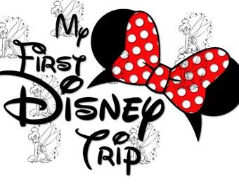 My First Disney Trip - DIY Iron On Transfer - Red Minnie
