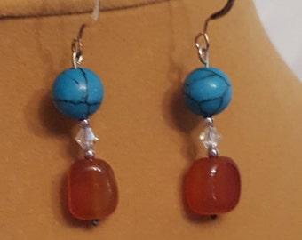 Carnelian and turquoise drops