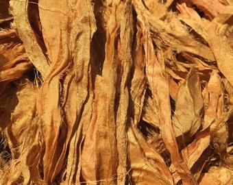 Dark yellow/Mustard Recycled Sari Silk Ribbon - Fair Trade product