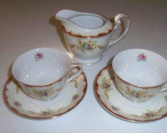 Harmony House Wembley 1954 Set Of Two Cups & Saucers And A Creamer