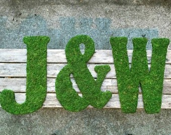 TWO 18 inch Moss Covered Letters WITH Ampersand, Moss Covered Monograms with Bow for Hanging
