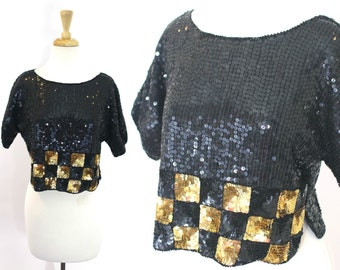 Sequin Crop Top / Vintage Gold Beaded Blouse Large
