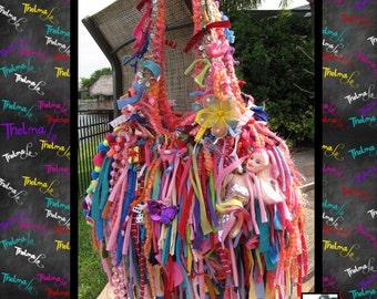 Mermaid Purse,Whimsical Bag,Wild Fringe Bag,Crazy Fun Tote,Custom Purse,Fringe Handbag,Rag Bag,Fabric Fringe Bag,unique,Purse,funky Tote