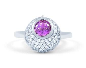 High Quality - Round Shape Comfort 0.27ct Diamond Amethyst Gemstone Ring - 9k/18k White Gold Ring - Diamond Engagement Ring