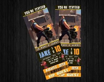 Team Fortress 2 Invite, Team Fortress 2 birthday invitation, tf2