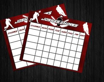 Printable Hockey Chore Chart, Sports, Puck, NHL