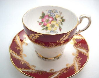 Red Paragon Tea cup And Saucer, Maroon red with Flowers, Red and Gold Tea cup set.