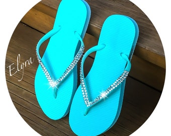 Swarovski Crystal Teal Sandals Sizes 6, 7, 8, and 9 AVAILABLE!