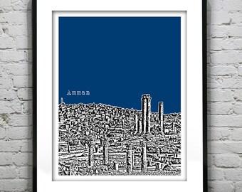 Amman Jordan Skyline Poster Art Print Middle East Version 2