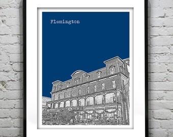 Flemington Skyline Poster Art Print New Jersey NJ