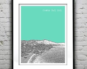 Costa Del Sol Spain City Skyline Poster Art Print Version 1