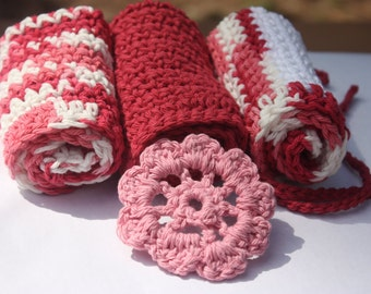 Pink and Red Washcloth Set - Baby Girl Washcloth Set - Crochet Baby Washcloth Set- 3 Piece Washcloth Set