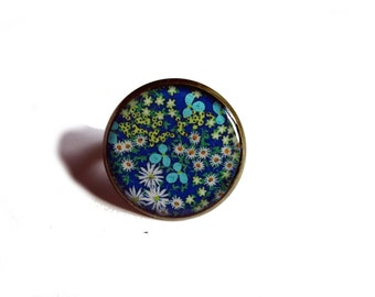 Flowers ring, Blue flowers ring, Flower ring, Blue ring, Garden, Girlfriend gift, Teens gift, Nature, Hippy