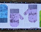 Christmas Table Runner, holiday, winter, mittens, modern design, blue, green, purple, black, white