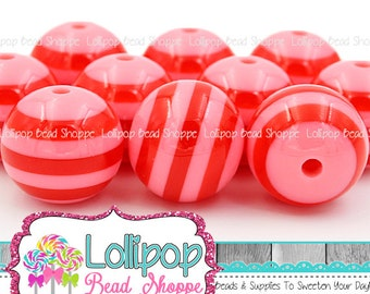 20mm Pink & Red Stripe Beads Chunky Beads Bubblegum Beads Chunky Necklace Beads Striped Resin Round Plastic Stripes Bubble Gum Beads SRB54