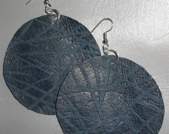 Bold extra large embossed leather earrings