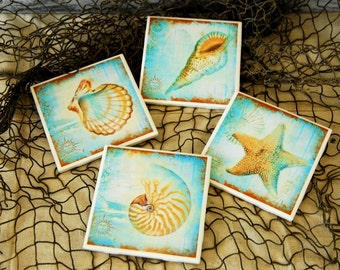 Set of 4 Tile Coasters-Sea Life-Blue and Brown