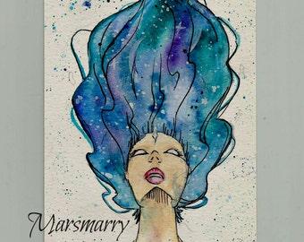 "Watercolor Painting ""Stargazer"""