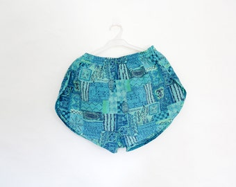 Vintage shorts // Speedo men's blue and green swim trunks // size L