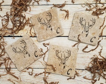 Deer Head Coaster - Hand Stamped Tile Coasters -  Deer Antlers - Man Cave Coasters - Cabin Coasters - Coaster Gifts - Holiday Coasters