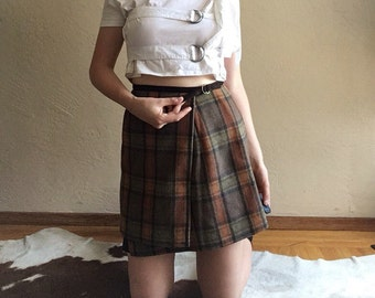 90s Brown Wool Plaid Wrap Mini Skirt