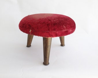 The Russian Red Opera House Vintage Stool Distressed Red Velvet Footstool Brass Legs: Home Décor Furniture, Seating, Shabby Chic Decor,