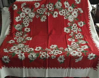 Vintage 1950s Red with Daisies Tablecloth