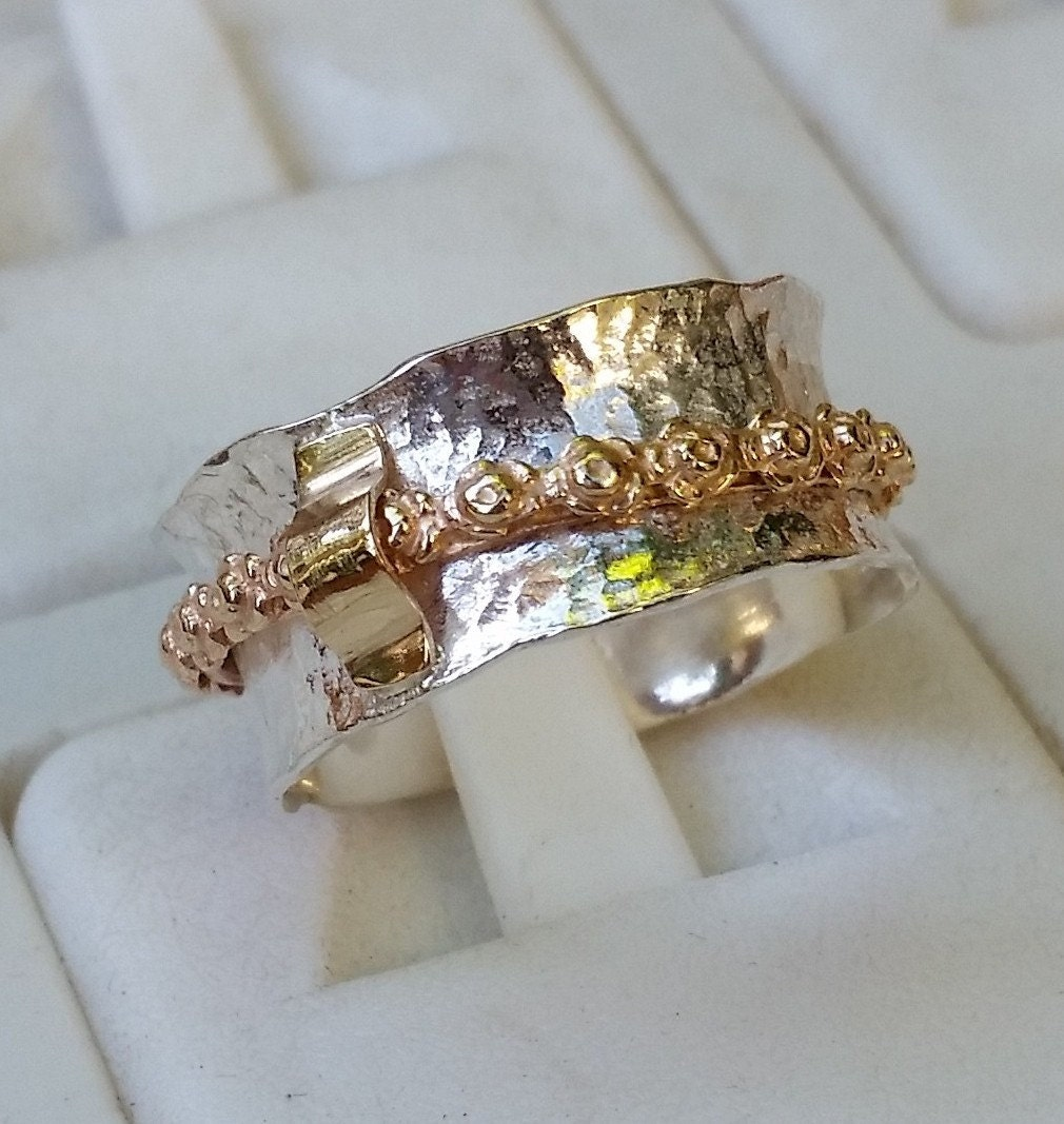 silver and gold spinner ring handmade spinner ring sterling