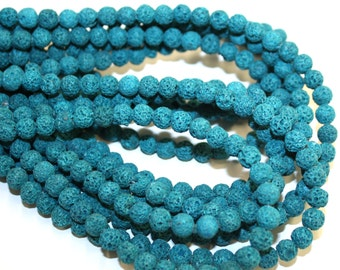 6mm Teal Lava Beads Dyed 16 Inch Strand, 58 Beads