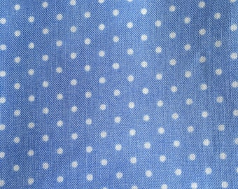 Pam Kitty Morning – 1/8 White polka dots on sky blue – by Pam Kitty for Lake house fabrics.
