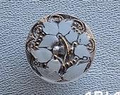 CZECH GLASS BUTTON: 18mm Flower Handpainted Czech Button, Pendant, Cabochon (1)