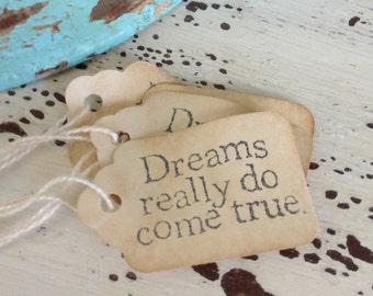 Small Dreams Really Do Come True Tags / Wedding Favor Tags / Party Favor Tags / Storybook / Fairy Tale / Princess Party