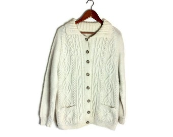 Vintage aran cardigan // hand knitted cream sweater // cable knit cardigan // boho chunky hand knitted cardigan // off white knitted sweater