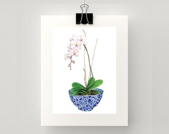 REPRODUCTION PRINT Blue and white bowl with a pink orchid watercolour print