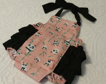 Baby Romper, Bubble Romper, Spring Romper, Baby Girl Romper, Panda Romper
