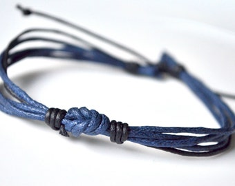 Bracelet blue bow cord