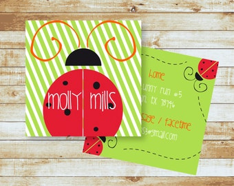 Personalized Calling Cards / Kids / Ladybug / Camp Cards