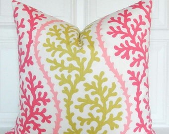 Pink and Green Pillow Cover - Kaufmann - Designer Pillow - Decorative Pillow - Throw Pillow - Toss Pillow - 18x18, 16 x16  - Lumbar
